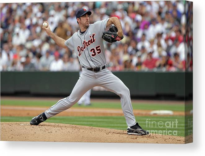 Working Canvas Print featuring the photograph Justin Verlander by Doug Pensinger