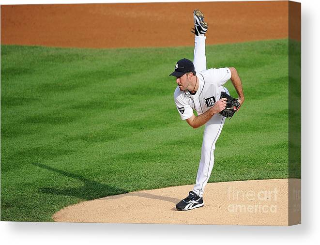 American League Baseball Canvas Print featuring the photograph Justin Verlander by Kevork Djansezian