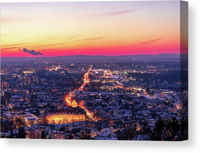 Karlsruhe Canvas Print featuring the photograph Karlsruhe in winter at sunset by Hannes Roeckel