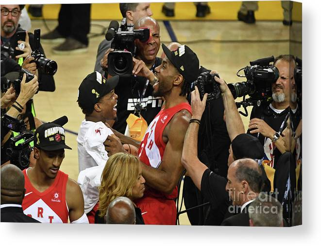 Playoffs Canvas Print featuring the photograph Kawhi Leonard and Kyle Lowry by Garrett Ellwood