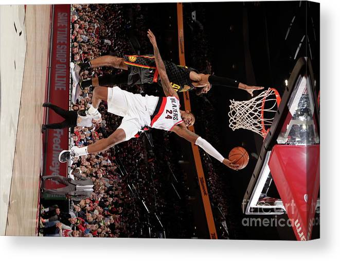 Nba Pro Basketball Canvas Print featuring the photograph Kent Bazemore by Cameron Browne