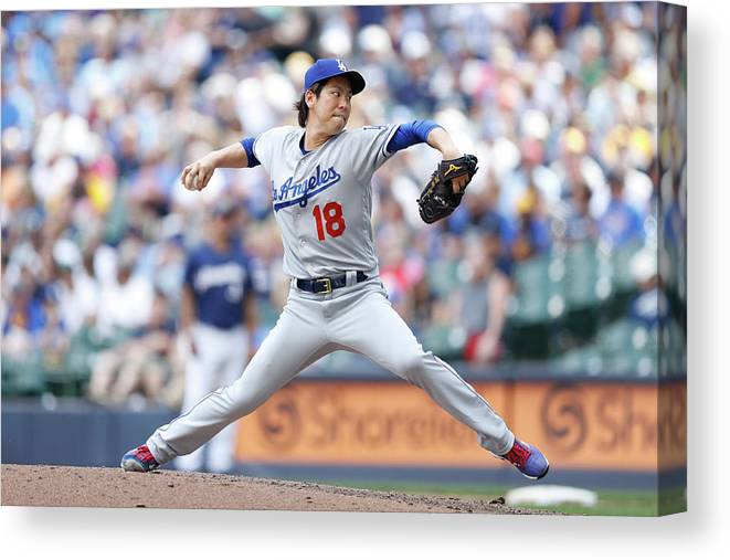 People Canvas Print featuring the photograph Kenta Maeda by Joe Robbins