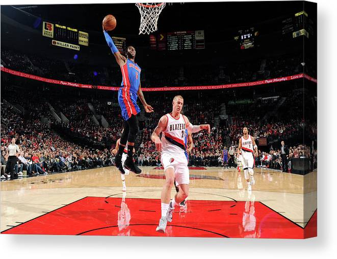 Nba Pro Basketball Canvas Print featuring the photograph Kentavious Caldwell-pope by Cameron Browne