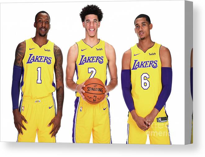 Media Day Canvas Print featuring the photograph Kentavious Caldwell-pope, Jordan Clarkson, and Lonzo Ball by Andrew D. Bernstein
