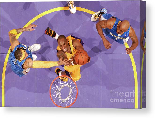 Kenyon Martin Canvas Print featuring the photograph Kenyon Martin, Chauncey Billups, and Kobe Bryant by Andrew D. Bernstein