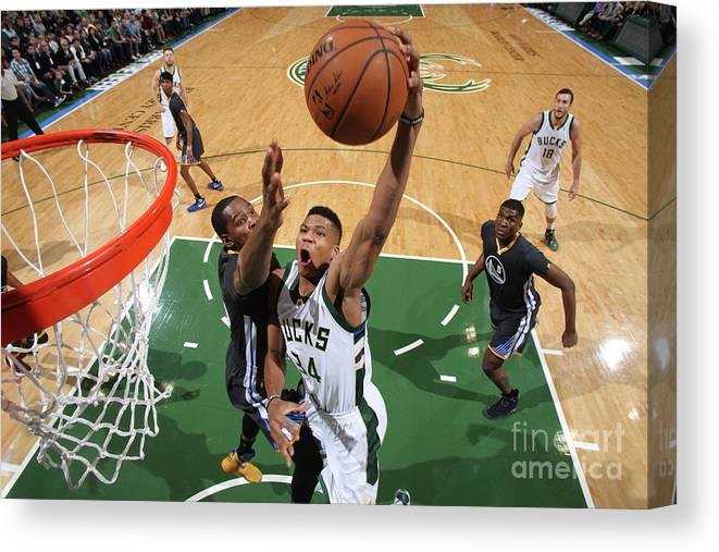 Nba Pro Basketball Canvas Print featuring the photograph Kevin Durant and Giannis Antetokounmpo by Gary Dineen
