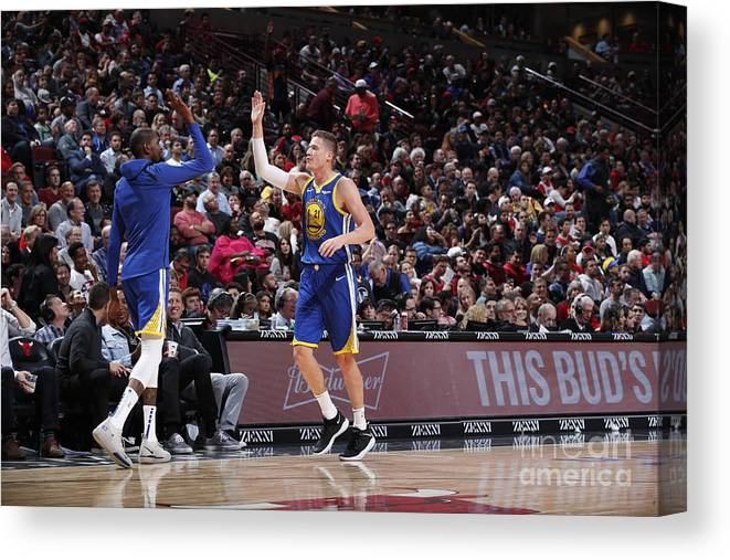 Nba Pro Basketball Canvas Print featuring the photograph Kevin Durant and Jonas Jerebko by Jeff Haynes