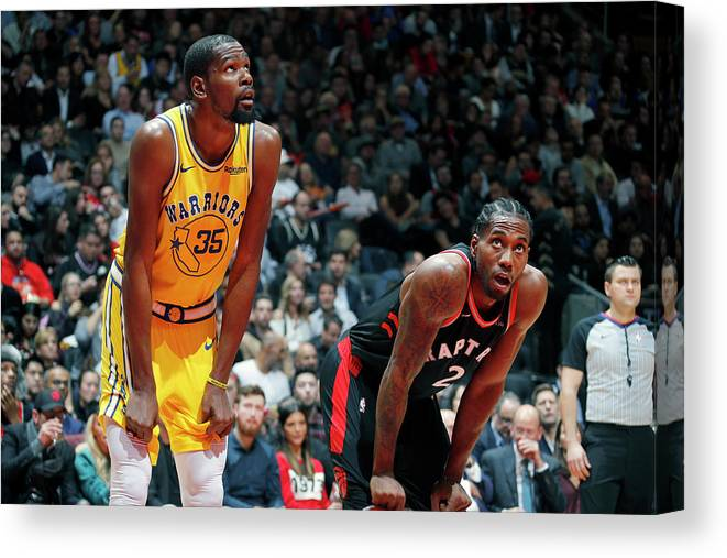 Nba Pro Basketball Canvas Print featuring the photograph Kevin Durant and Kawhi Leonard by Mark Blinch