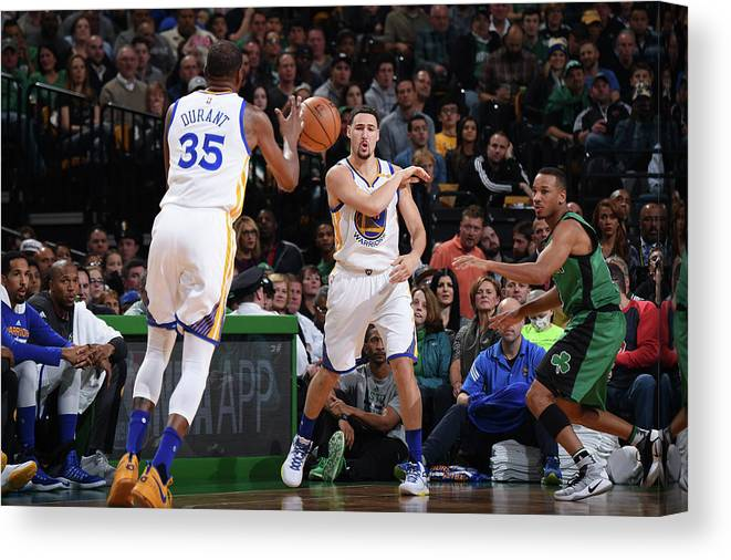 Nba Pro Basketball Canvas Print featuring the photograph Kevin Durant and Klay Thompson by Brian Babineau
