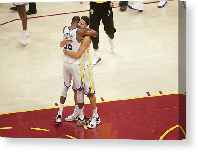 Playoffs Canvas Print featuring the photograph Kevin Durant and Klay Thompson by Mark Blinch
