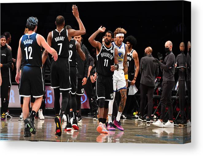 Nba Pro Basketball Canvas Print featuring the photograph Kevin Durant and Kyrie Irving by Jesse D. Garrabrant
