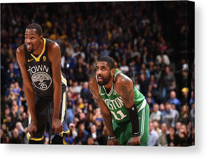 Nba Pro Basketball Canvas Print featuring the photograph Kevin Durant and Kyrie Irving by Noah Graham