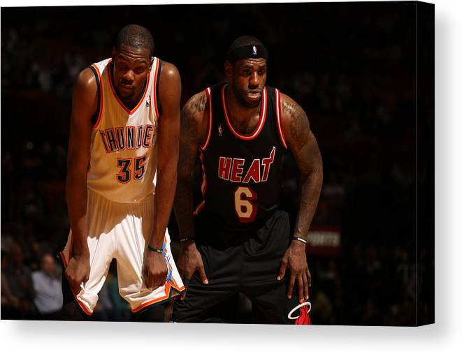 Nba Pro Basketball Canvas Print featuring the photograph Kevin Durant and Lebron James by Issac Baldizon