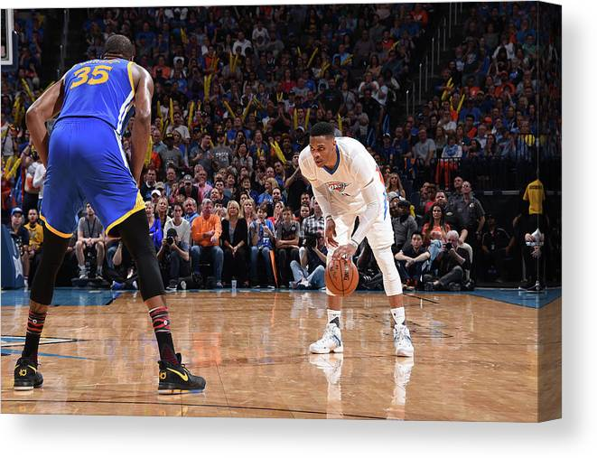 Nba Pro Basketball Canvas Print featuring the photograph Kevin Durant and Russell Westbrook by Andrew D. Bernstein