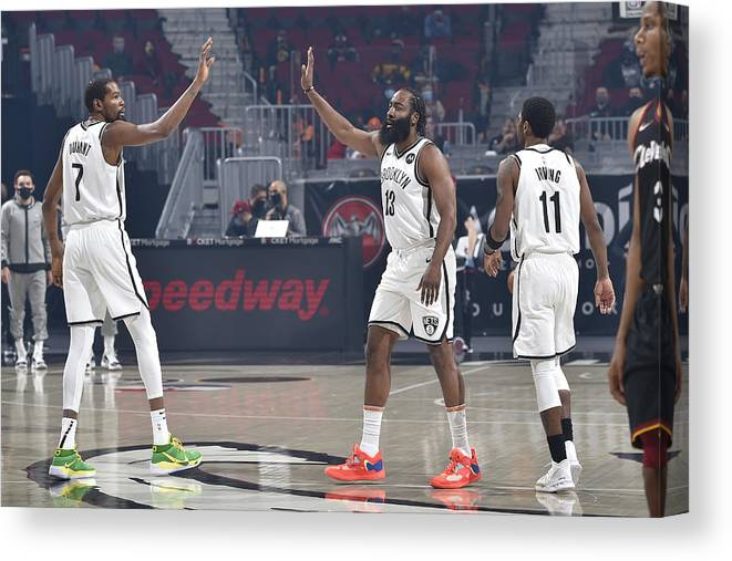 Nba Pro Basketball Canvas Print featuring the photograph Kevin Durant, Kyrie Irving, and James Harden by David Liam Kyle