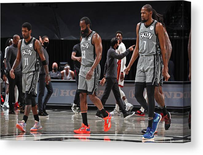 Nba Pro Basketball Canvas Print featuring the photograph Kevin Durant, Kyrie Irving, and James Harden by Nathaniel S. Butler