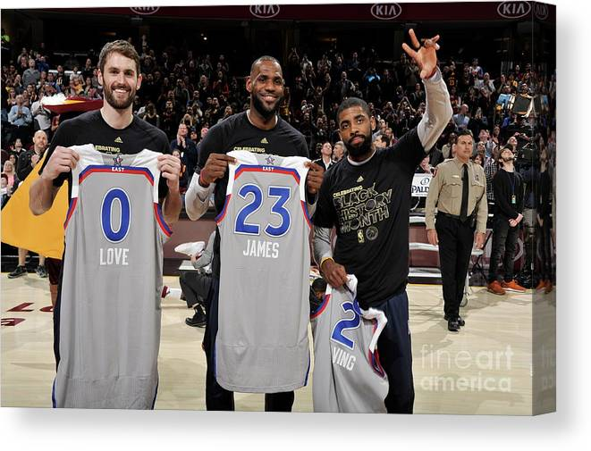 Nba Pro Basketball Canvas Print featuring the photograph Kevin Love, Kyrie Irving, and Lebron James by David Liam Kyle