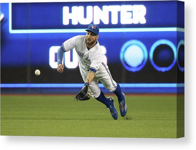 Ninth Inning Canvas Print featuring the photograph Kevin Pillar and Dee Gordon by Tom Szczerbowski