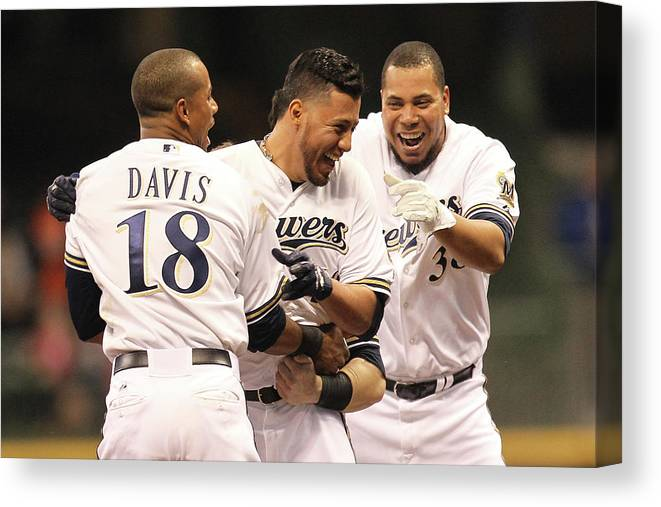 Celebration Canvas Print featuring the photograph Khris Davis, Wily Peralta, and Yovani Gallardo by Mike Mcginnis