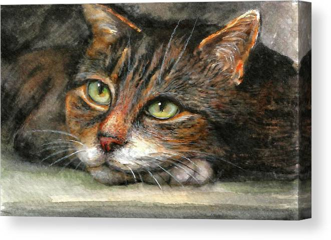Cat Canvas Print featuring the painting Kitty by Natalja Picugina