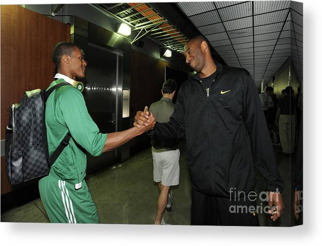 Playoffs Canvas Print featuring the photograph Kobe Bryant and Rajon Rondo by Andrew D. Bernstein