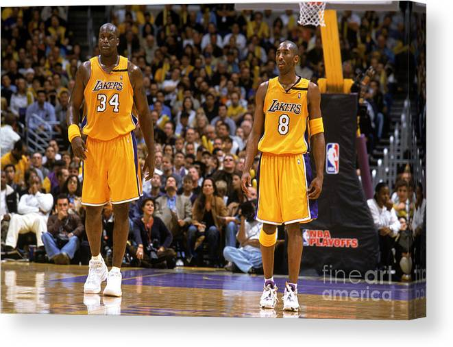 Playoffs Canvas Print featuring the photograph Kobe Bryant and Shaquille O'neal by Andrew D. Bernstein