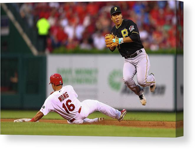 St. Louis Cardinals Canvas Print featuring the photograph Kolten Wong and Jung Ho Kang by Dilip Vishwanat