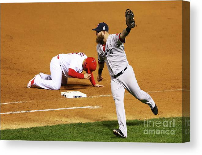 Ninth Inning Canvas Print featuring the photograph Kolten Wong, Mike Napoli, and Koji Uehara by Elsa