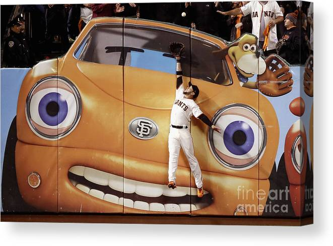 San Francisco Canvas Print featuring the photograph Kris Bryant and Gregor Blanco by Ezra Shaw