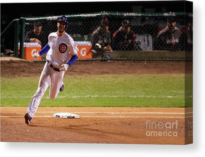People Canvas Print featuring the photograph Kris Bryant by Jamie Squire