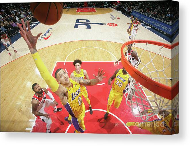 Nba Pro Basketball Canvas Print featuring the photograph Kyle Kuzma by Ned Dishman