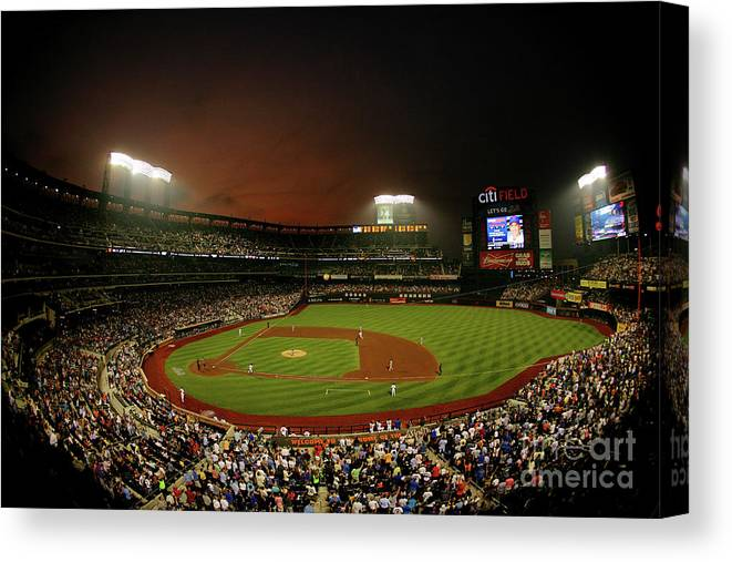 Residential District Canvas Print featuring the photograph Kyle Mcclellan and Carlos Beltran by Al Bello