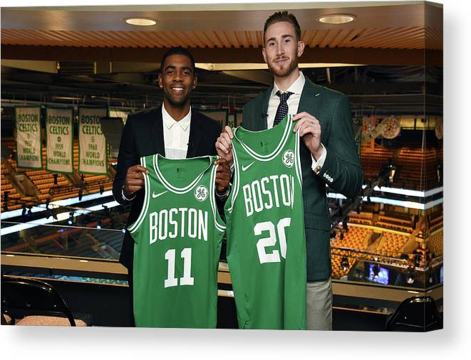 Nba Pro Basketball Canvas Print featuring the photograph Kyrie Irving and Gordon Hayward by Brian Babineau