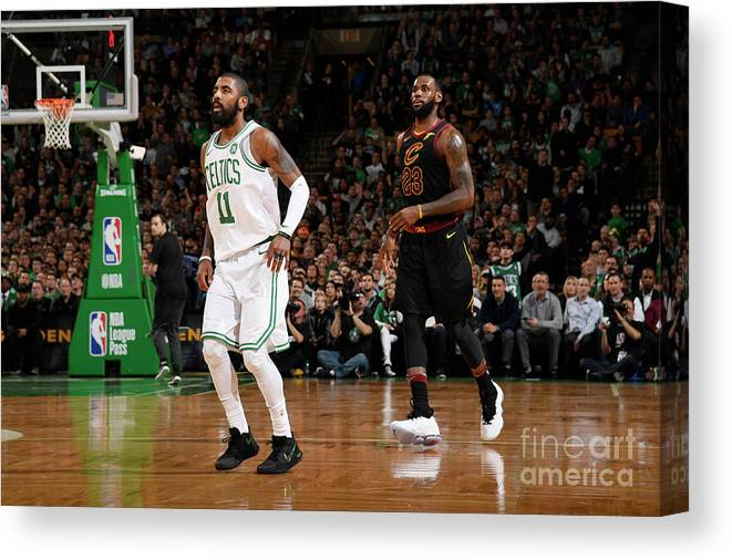 Nba Pro Basketball Canvas Print featuring the photograph Kyrie Irving and Lebron James by Brian Babineau