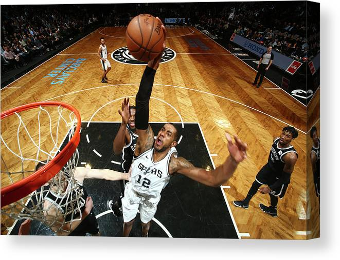 Nba Pro Basketball Canvas Print featuring the photograph Lamarcus Aldridge by Nathaniel S. Butler