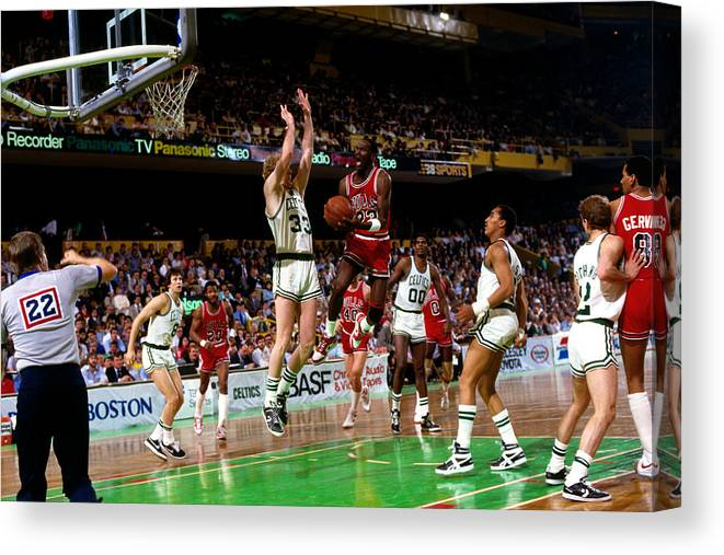 Chicago Bulls Canvas Print featuring the photograph Larry Bird and Michael Jordan by Dick Raphael