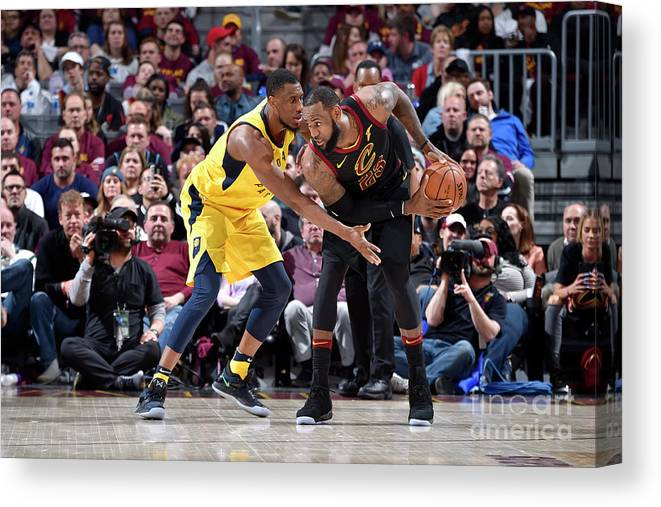 Playoffs Canvas Print featuring the photograph Lebron James and Thaddeus Young by David Liam Kyle