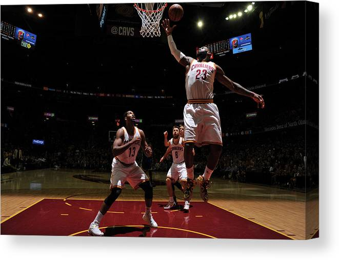 Playoffs Canvas Print featuring the photograph Lebron James by Garrett Ellwood