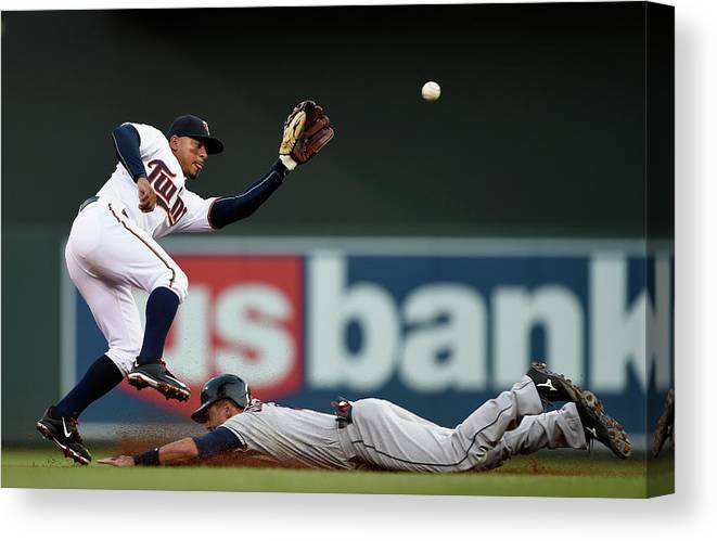 Second Inning Canvas Print featuring the photograph Lonnie Chisenhall And Eduardo Escobar by Hannah Foslien