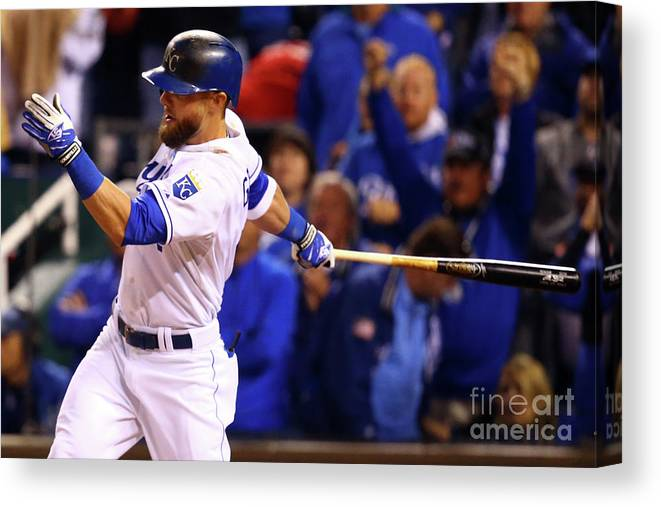 People Canvas Print featuring the photograph Lorenzo Cain, Alex Gordon, and Wei-yin Chen by Dilip Vishwanat