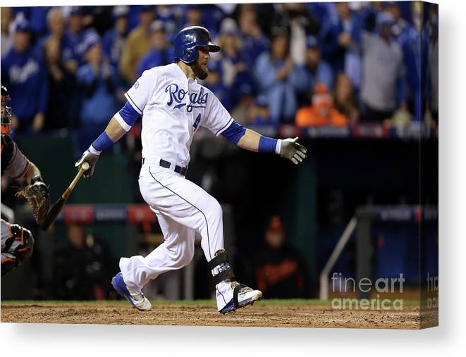 People Canvas Print featuring the photograph Lorenzo Cain, Alex Gordon, and Wei-yin Chen by Ed Zurga