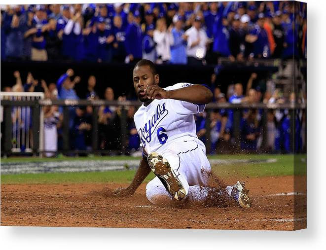Game Two Canvas Print featuring the photograph Lorenzo Cain and Billy Butler by Elsa