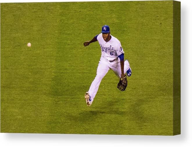 People Canvas Print featuring the photograph Lorenzo Cain and Joey Gallo by Kyle Rivas