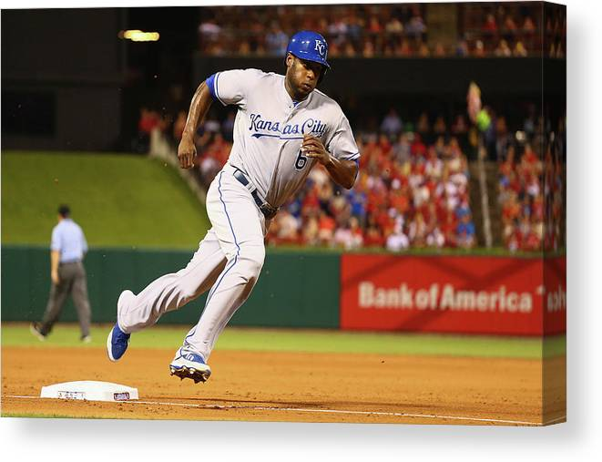 American League Baseball Canvas Print featuring the photograph Lorenzo Cain by Dilip Vishwanat
