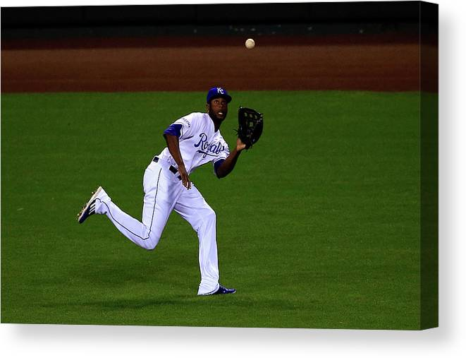 People Canvas Print featuring the photograph Lorenzo Cain by Jamie Squire