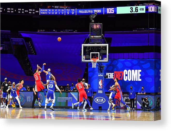 Canvas Print featuring the photograph Los Angeles Lakers v Philadelphia 76ers by Jesse D. Garrabrant