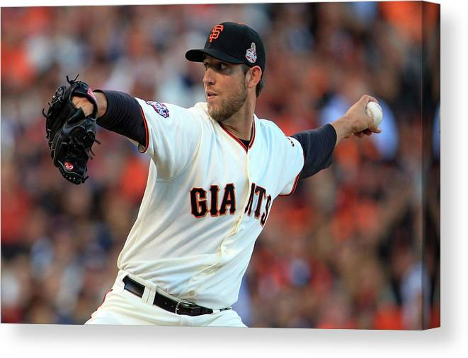 Game Two Canvas Print featuring the photograph Madison Bumgarner by Doug Pensinger