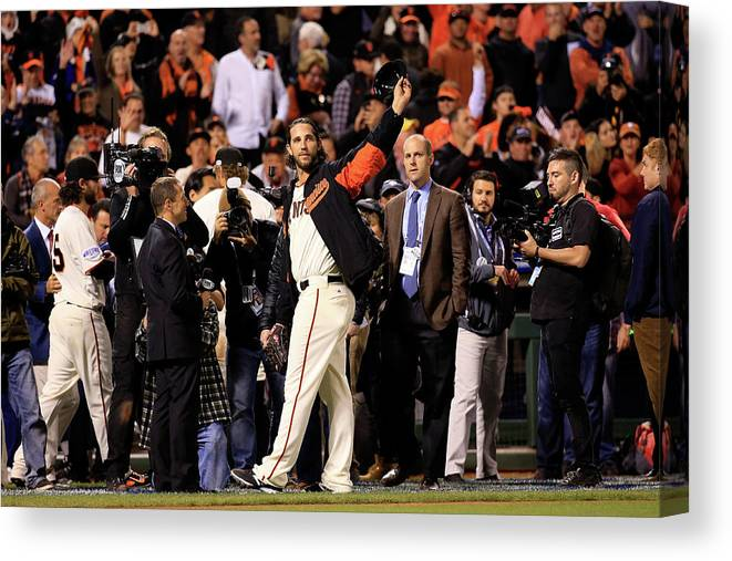 Crowd Canvas Print featuring the photograph Madison Bumgarner by Rob Carr