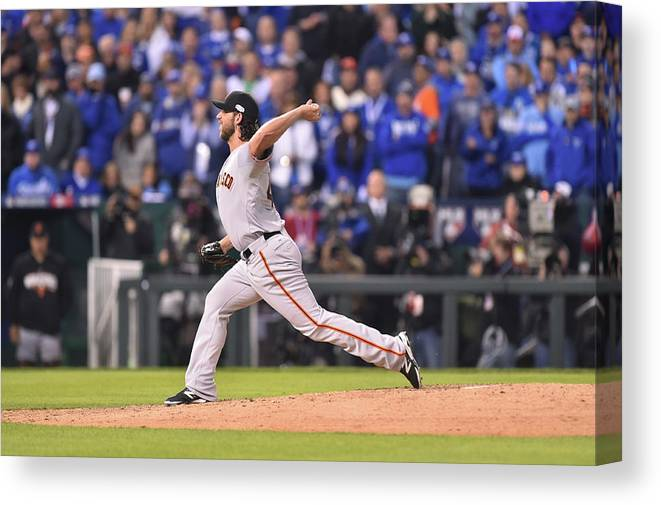 Playoffs Canvas Print featuring the photograph Madison Bumgarner by Rob Tringali