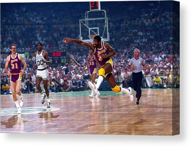 1980-1989 Canvas Print featuring the photograph Magic Johnson by Dick Raphael
